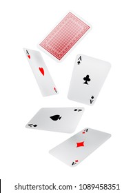 Falling playing cards. Leisure, game, gambling. Luck concept. Can be used for greeting cards, posters, leaflets and brochure