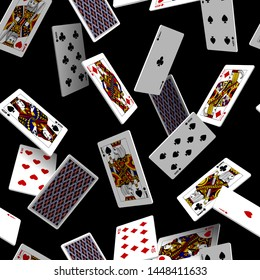 Falling playing cards seamless pattern isolated on black backgroun. Original design in three dimensional style. Vector illustration