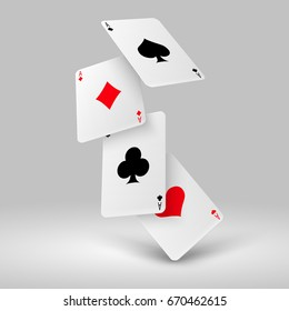 Falling poker playing cards of aces. Casino gambling vector concept. Four ace card for poker gambling game illustration