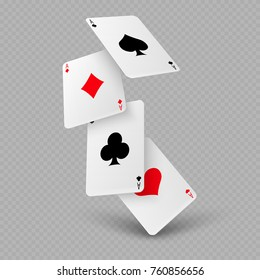Falling poker playing cards of aces isolated on transparent background. Vector illustration