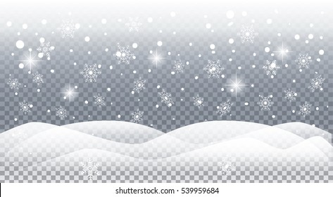 Falling realistic snow. Christmas and Happy New Year card background with snowfall, sparkle, snowflakes snow mountain on transparent background. Christmas pattern, light effect, vector. Winter Holiday