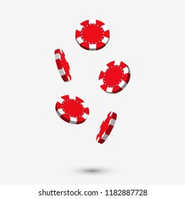 Falling red casino chips in 3d style design with shadow isolated on white background. Gaming illustration.
