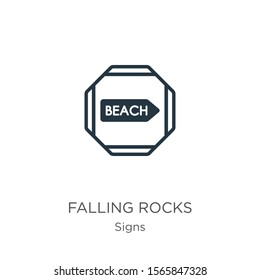 Falling rocks icon vector. Trendy flat falling rocks icon from signs collection isolated on white background. Vector illustration can be used for web and mobile graphic design, logo, eps10