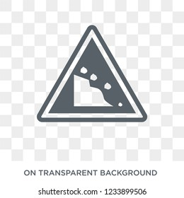 Falling rocks sign icon. Trendy flat vector Falling rocks sign icon on transparent background from traffic sign collection.