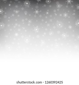 Falling shining beautiful nature winter Christmas snowflakes. Snow blurry dust particles sparkle pattern abstract background vector