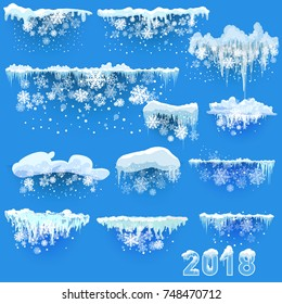 Falling Shining snow, snow drifts isolated on the transparent background. Christmas decoration. Winter Holiday landscape for Merry Christmas and Happy New Year greeting cards. Vector illustration.