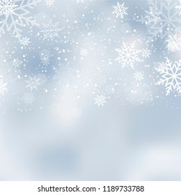 Falling shining snow or snowflakes on blue background for Happy New Year. Vector