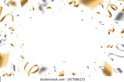 Falling shiny golden and silver confetti and pieces of serpentine isolated on white background. Bright festive overlay effect with gold and gray tinsels. Vector illustration