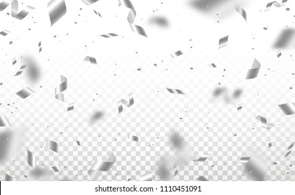 Falling shiny silver confetti and pieces of serpentine isolated on transparent background. Bright festive overlay effect with gray tinsels. Vector illustration.