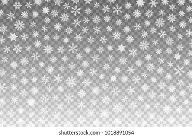 Falling Snow. Abstract background with snowflakes. Many white cold flake element. Snowfall on a transparent background. Merry Christmas vector Illustration. Winter Season Design Element