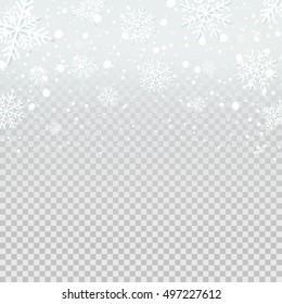 Falling snow backdrop on transparent background. Vector illustration.