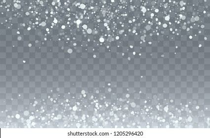 Falling Snow Background. Holiday Illustration for Merry Christmas Card. Glitter Snowflakes Background. Magic Blizzard Illustration Design.