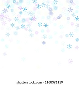 Falling snow confetti, snowflakes vector scatter. Christmas, New Year, Winter holidays party celebration. Retro frame, winter storm, sparkling trail. Vintage snowfall falling snowflakes confetti