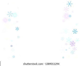 Falling snow confetti, snowflakes vector border. Winter holidays, Christmas, New Year party decoration. Cold weather, winter storm, sparkling texture. Hipster snowfall falling snowflakes confetti