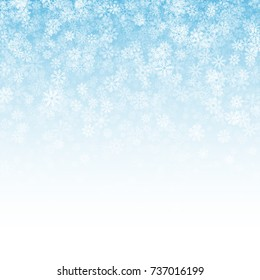 Falling Snow Effect with Realistic Vector Snowflakes Overlay on Light Blue Background. Christmas Holiday Winter Frozen Ice 3D Illustration