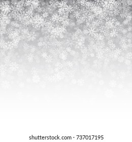 Falling Snow Effect with Realistic Vector Snowflakes Overlay on Light Silver Background. Christmas Holiday Winter Frozen Ice 3D Illustration