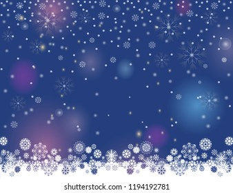Falling snow magic border on a dark blue background. Abstract winter night lights blurry background for your Merry Christmas and Happy New Year design. Vector holiday illustration. Place for your text