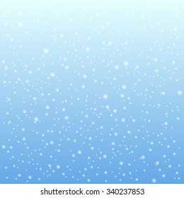 Falling snow on the blue background. Vector illustration. Xmas decoration.