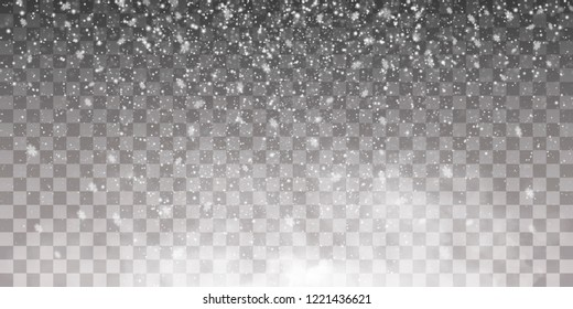 Falling snow on a transparent background. Snow clouds or shrouds. Fog, snowfall. Abstract snowflake background. Fall of snow. Vector illustrator 10 EPS.