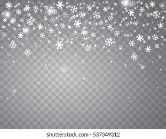Falling snow on a transparent background. Abstract falling snowflakes with glowing lights effect background for your winter design. Vector illustration