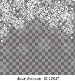 Falling snow over transparent background, vector illustration. Winter snowflakes