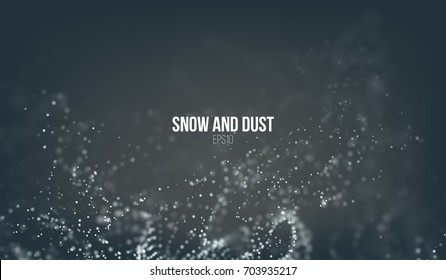 Falling snow particles flying on the air. Dust storm vortex. Bokeh effect. Snowflake cloud