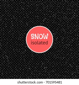 Falling Snow. Snowflakes Isolated on a transparent dark Background. Winter Vector Illustration.