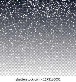Falling snow. Winter vector texture for decorating thematic photos and scenes. Creates cheerful New Year mood. Christmas snowy design with transparent background. Falling defocused snowflakes.