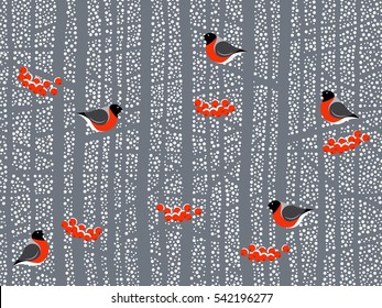 The falling snow and the winter woods with sitting on branches bullfinches and Rowan berries. Seamless background pattern. Handmade vector drawing.