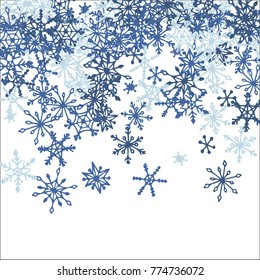 Falling Snowflakes for Christmas Decoration. Winter Background for New Year and Xmas Holidays. Vector Doodle Snowflakes. Blue Winter Pattern with Falling Snow