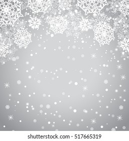 Falling snowflakes on gray background. Vector illustration.