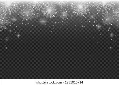 Falling snowflakes on transparent background. Background template for festive invitation, poster, booklet and postcard. Isolated.  Vector illustration