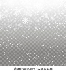 Falling snowflakes on transparent background. Christmas background for your design. Vector.