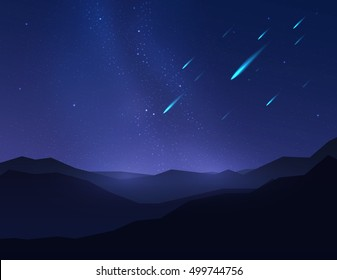 Falling Stars, asteroids or meteors in night sky over mountain. Vector illustration.