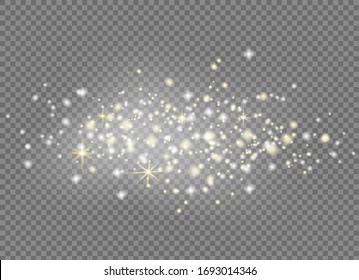 Falling stars effect on checkered background.Gold and silver glittering stars in a white cloud of dust.Sparkling magical stardust  particles.Explosion in the universe.