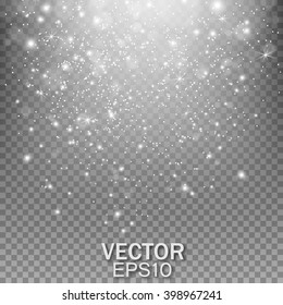 Falling stars effect. Stardust on a transparent background. Vector illustration