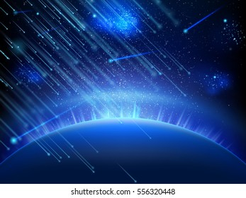 Falling stars, meteors or comets. Starry night sky background. Falling meteor on background night sky, falling asteroids. EPS 10 vector file included