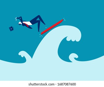 Falling from a surfboard, Business falling off concept