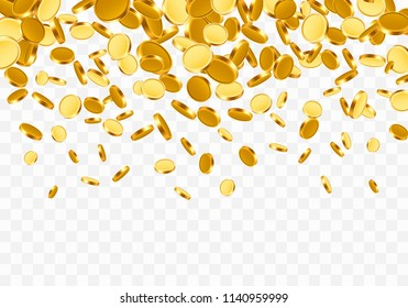 Falling from the top a lot of coins on a transparent background. Vector illustration