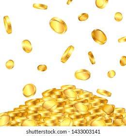 Falling from the top a lot of dollar gold coins on white background. Vector illustration.