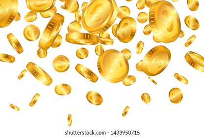 Falling from the top a lot of Euro gold coins on white background. Vector illustration.