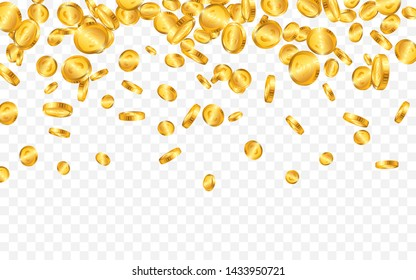 Falling from the top a lot of Euro gold coins on transparent background. Vector illustration.
