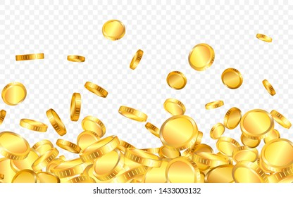 Falling from the top a lot of gold coins on transparent background. Vector illustration.