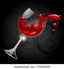 Falling transparent glass with red wine on black background. Splash of wine. Vector illustration