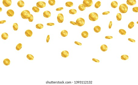 Falling of treasure golden coins with crown symbol on white background.