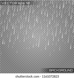 Falling water drops texture.Vector illustration rain isolated on a transparent background. Eps 10