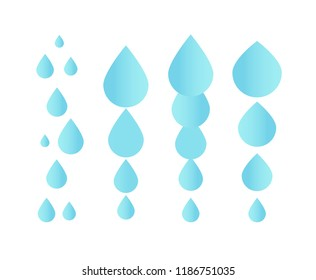 Falling water icon. Clean droplet logo template. Simple flat sign. Blue abstract symbol. Isolated vector illustration on white background.