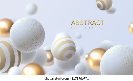 Falling white and golden soft spheres. Vector realistic illustration. Abstract background with 3d geometric shapes. Modern cover design. Ads banner template. Dynamic wallpaper with balls or particles