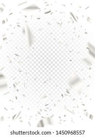 Falling white shiny confetti on transparent background and pieces of serpentine and foil. Glossy silver festive tinsel. Fun party. Holiday design elements for web banner, poster or invitation.