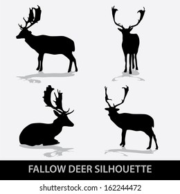 fallow deer silhouette icons eps10